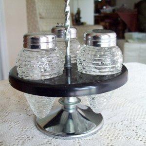 Condiment Cruet Holder with Glass Salt Pepper and Spice Jar