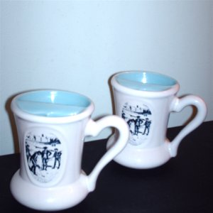 Two Beauceware Vintage Advertising Mustache Cups with Victorian Golf Scene Beauce Pottery Export A