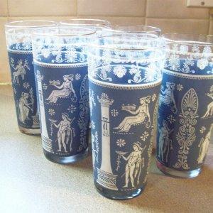 Five 16oz Corinthian Blue Wedgwood Greek Mediterranean Jeanette Glass Co.