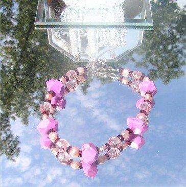 Fushia Pink Turquoise Rondell Bracelet