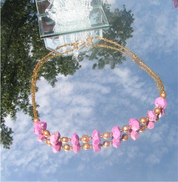 Fuchsia Pink Turquoise and Pearl Necklace