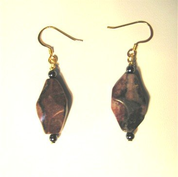 Brown Black Braciated Jasper Earrings Wires