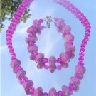 Fucshia Pink Turquoise Faceted Necklace and Bracelet  #003