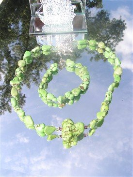 Gaspeite Lime Green Turquoise Nugget Necklace  #1025