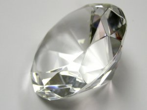 Faceted Clear Diamond Crystal Paperweight  80mm  # 20017