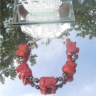 Carved Sponge Coral Pigs and Hematite Bracelet  #1051