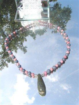 Rhyolite Drop Rhodonite and Blue Coral Necklace  #1030