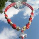 Sponge Coral Jasper Fish Necklace #1