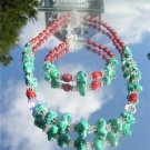 Turquoise Red Sponge Coral and Crystal Necklace and Bracelet #0010