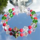 Hand Faceted Crystal Cloisonné  Red Coral Bracelet #0015