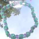 Blue Turquoise Nugget Amethyst Necklace #new1070