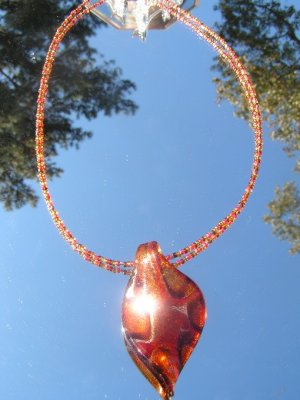 Handblown Glass Leaf and Glass Seed Beads #mg001