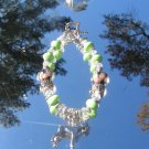 Cropped/Uncropped Boxer Dog Lime Green Stone Pewter Lampwork Crystal Bracelet