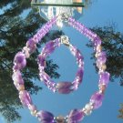 Amethyst Nugget and Pewter Bead Bracelet  Necklace #0008