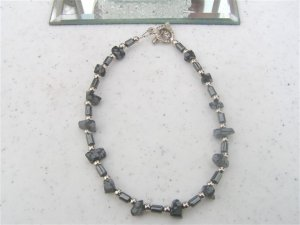 Hematite Snowflake Obsidian Chip Beads Bracelet  #1a