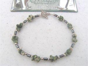 Hematite Tree Agate Green Chips Bracelet #1a