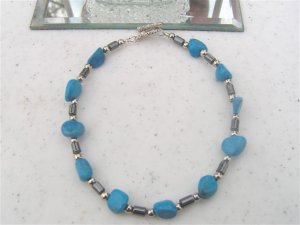 Hematite Turquoise Dyed Howlite Nugget Bracelet  #1a