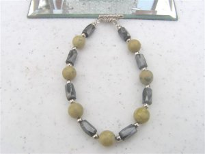 Faceted Magnetic Hematite Yellow Turquoise Jasper Bracelet  #1a