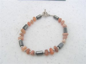 Magnetic Hematite Moonstone Chips Bracelet  #1a