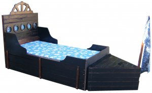 New Custom Two Piece Pirate Ship Twin Rustic Wooden Boat Bed w/ Storage Trunk