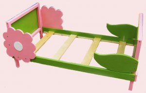 Wooden Flower Toddler Bed Green and Pink