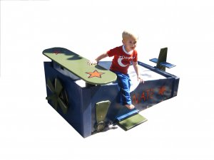 WoodAirplane Toddler Bed with Wing, Tail & Propeller