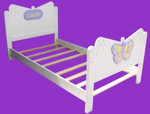 New Custom Wooden White Butterfly TWIN BED w/ Name Plate