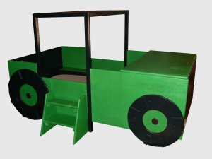 Oak Tractor Toddler to Twin Convertible Bed with Large Toy Chest