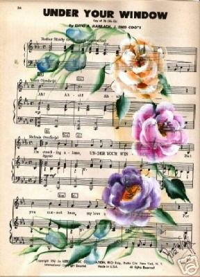 Hand Painted Roses on Vintage Sheet Music