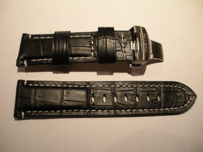 24mm Black/White Stitch/Cream Lining Leather Strap w/ Deployment for Panerai