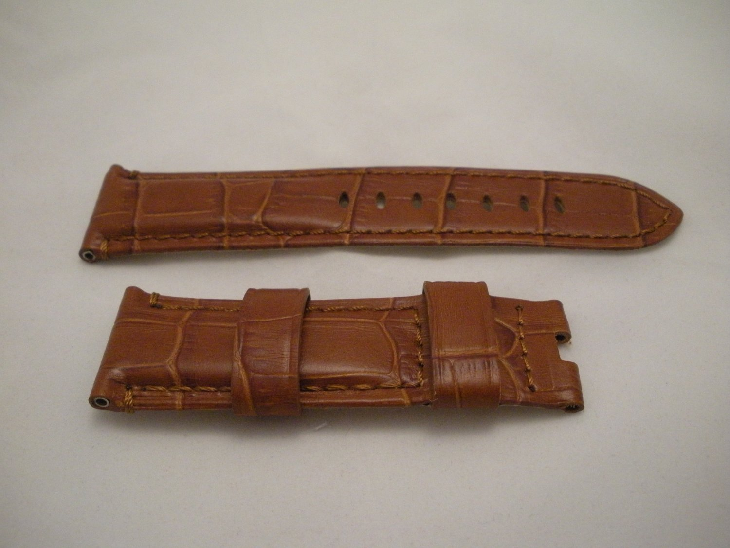 24mm Brown/Cream Lining Leather Strap Only for Panerai