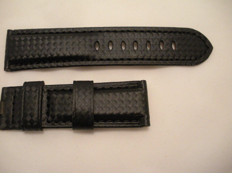24mm Black/Black Stitch Carbon Fiber Strap for Panerai