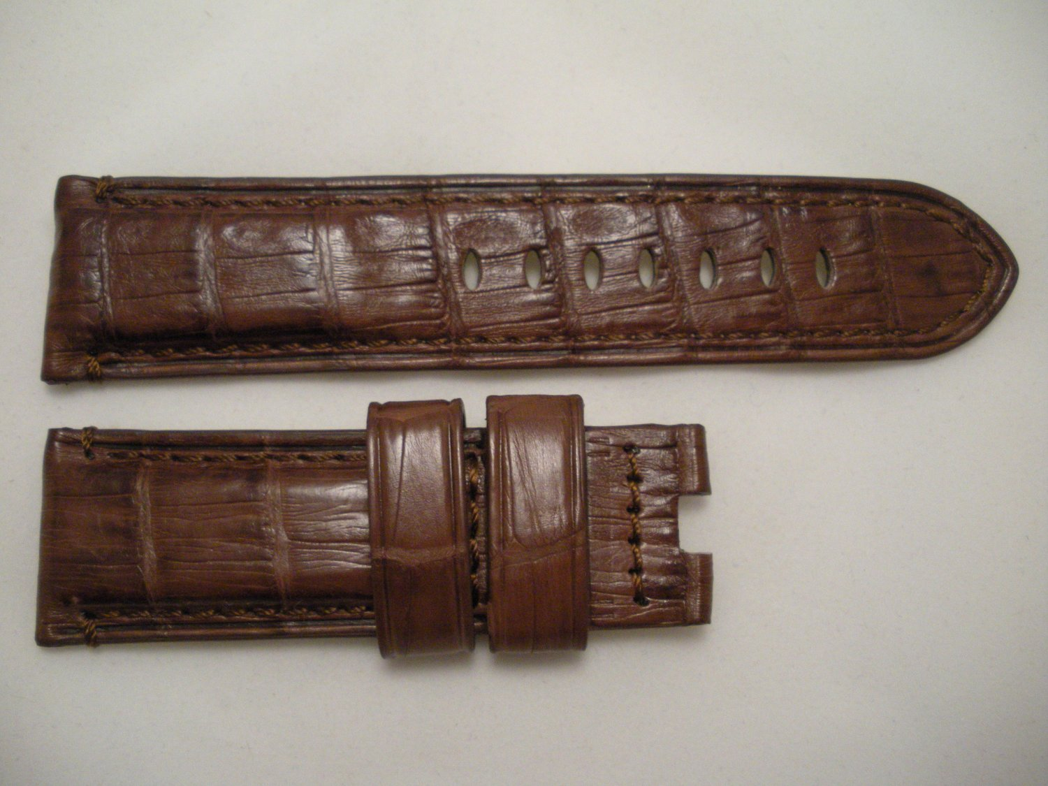 24mm Brown Genuine Crocodile Leather Strap Only for Panerai Buckles