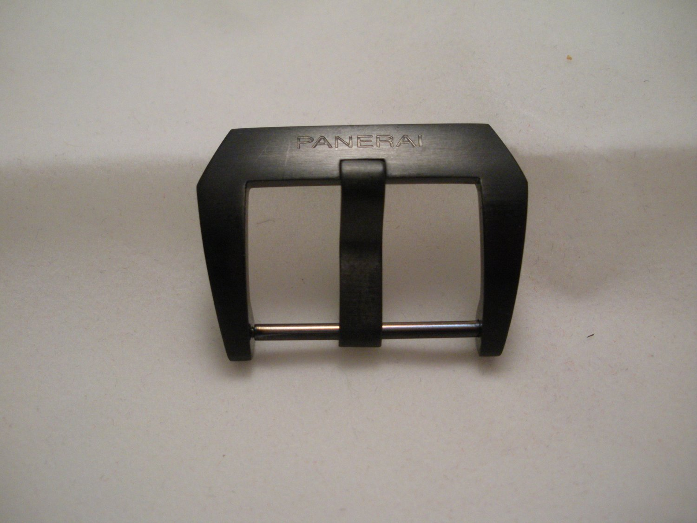 Black 22mm Pre-V Fishtail Buckle PVD for Panerai