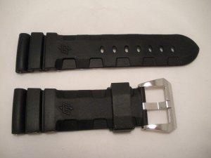 26mm Black Rubber Accordion Dive Strap w/ Buckle for 47mm Panerai