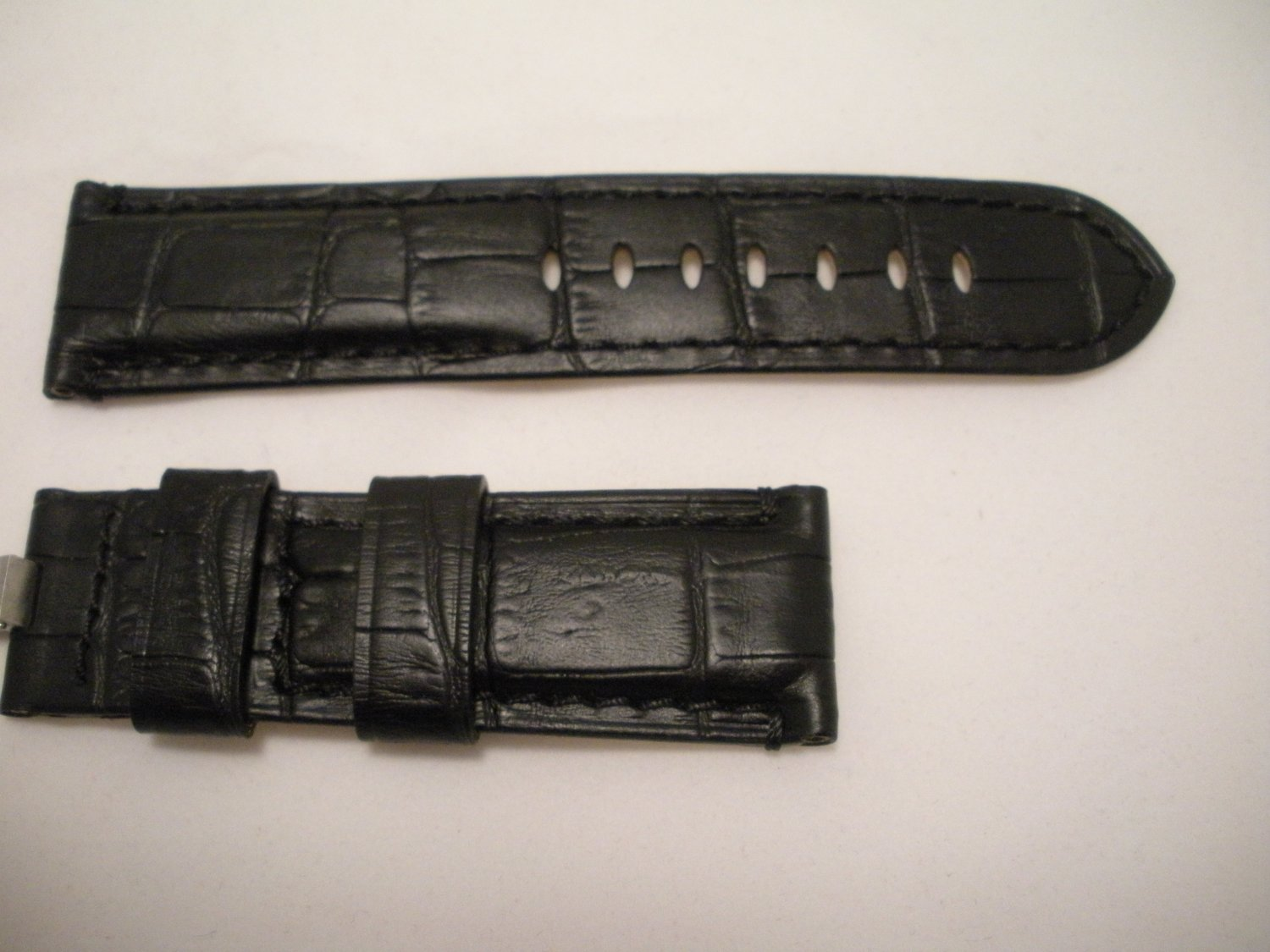 24mm Black/Cream Lining Leather Strap Only for Panerai