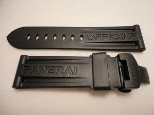 24mm Black Rubber Dive Strap w/ PVD Deployment for Panerai