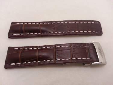 22mm Dark Brown Leather/White Stitch Strap w/ Clasp for Breitling