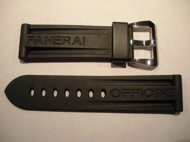 24mm XL Black Rubber Dive Strap w/ Brushed PreV Buckle for Panerai