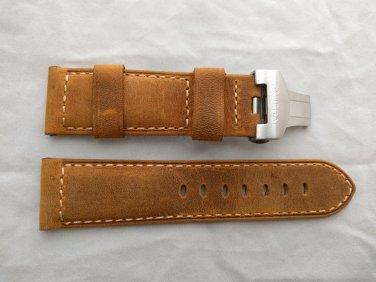 24mm Assolutamente Brown Leather Strap w/ Deployant for Panerai