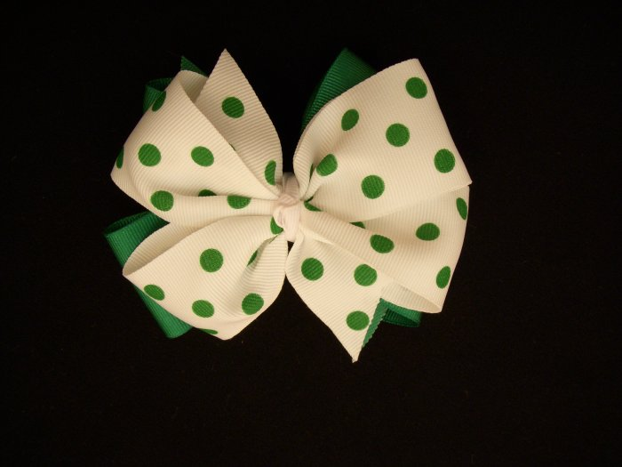 """Med. Kelly Green/White Polka Dot Layered """"Side by Side"""" Bow"""