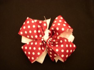 """Medium Red/White Polka Dot Layered """"Side by Side"""" Bow"""