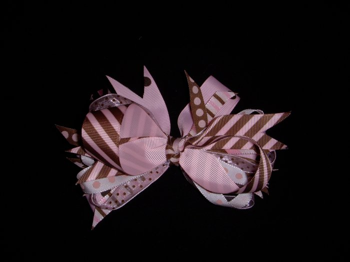 """Med. Baby Pink/Chocolate """"Sassy"""" Bow"""