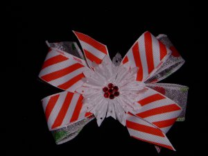 Med. Candy Cane Stripe/Polka Dot Christmas Layered Side by Side Bow w/Snowflake Flower Center