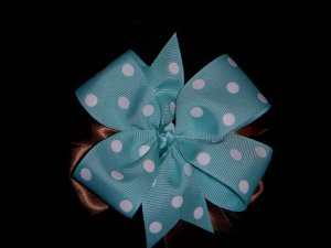 Med. Aqua Polka Dot/Chocolate Layered Side by Side Bow