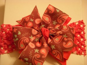 Med Fuchsia Pink/Light Brown Paisley Layered Side by Side Bow on Baby Headband