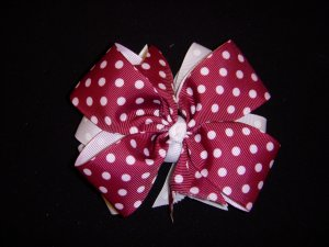 Med. Maroon/White Polka Dot Layered Side by Side Bow