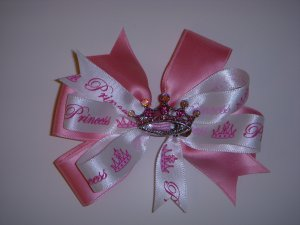 """Med. White/Pink Layered Side by Side """"Princess"""" Bow w/Crystal Tiara"""