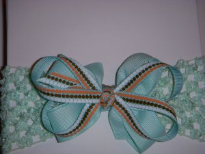 """Small Mint Green/Chocolate/Tangerine Layered """"Butterfly"""" Bow on Headband"""