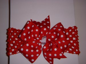 Med. Cherry Red/White Polka Dot Single Layer Side by Side Bow on Headband